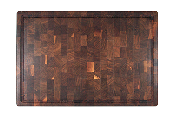 End grain butcher block with finger grip